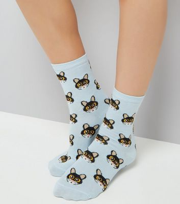 Blue Cat Cartoon Face Pattern Socks