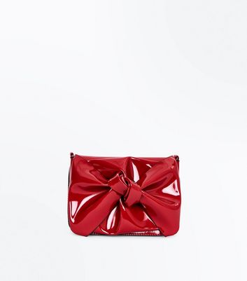Red Patent Oversized Bow Bag