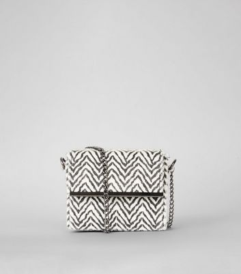 White Faux Fur Zebra Print Micro Cross Body Bag