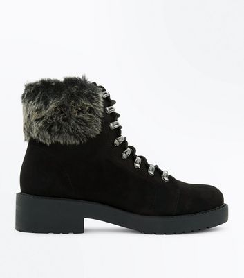 Teens Black Suedette Faux Fur Trim Hiker Boots