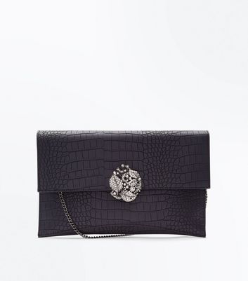 Black Croc Texture Brooch Front Clutch