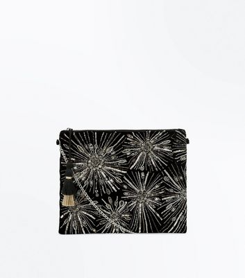 Black Embroidered Stud Structured Bag