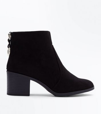 Teens Black Ring Trim Suedette Block Boots