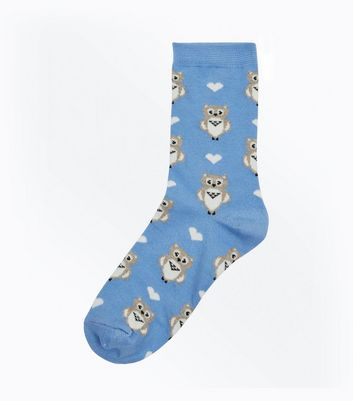 Pale Blue Owl Socks
