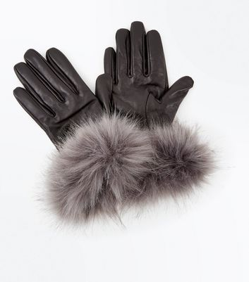 Black Faux Fur Trim Leather-Look Gloves