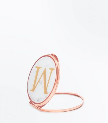 White M Initial Marble Mirror