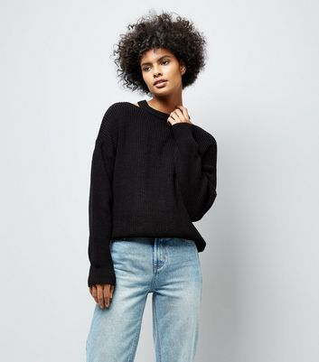 Black Cut Out Neck Jumper