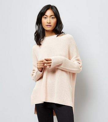 Shell Pink Cut Out Neck Longline Jumper