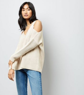 Nude Metallic Detail Cold Shoulder Jumper