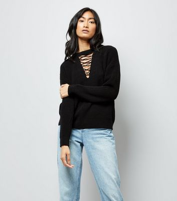 Black Lattice Choker Neck Jumper
