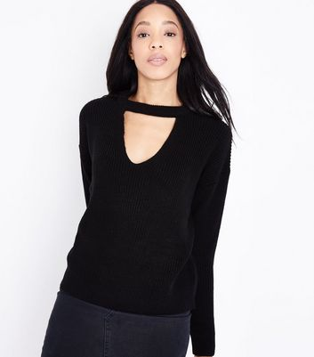 Black Ribbed Choker Neck Jumper