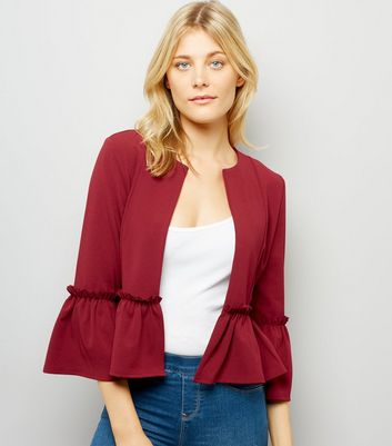 Cameo Rose Burgundy Peplum Jacket