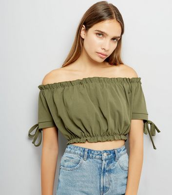 Cameo Rose Khaki Frill Trim Bardot Neck Crop Top