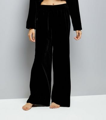 Black Velvet Wide Leg Pyjama Bottoms