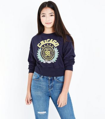 Teenager – Marineblauer Pullover mit Chicago Slogan