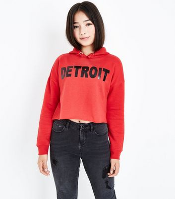 Teens Red Detriot Slogan Hoodie