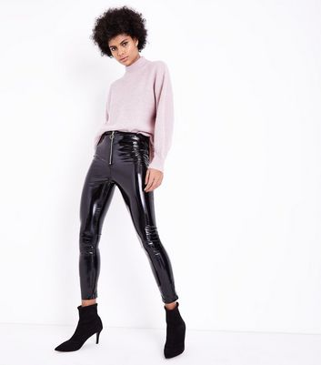 Parisian Black Leather-Look Skinny Trousers