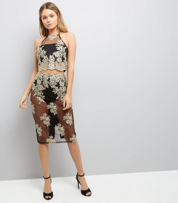 Parasian Embellished Sheer Bodycon Midi Skirt