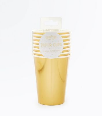 8 Pack Gold Metallic Paper Cups