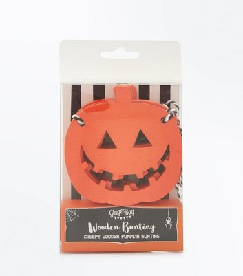 Bright Orange Halloween Wooden Pumpkin Bunting