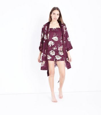 Burgundy Floral Satin Pyjama Shorts