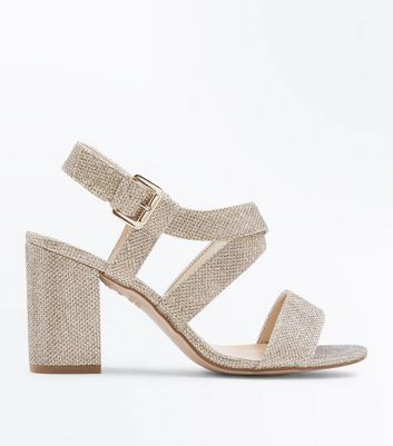 Wide Fit Gold Glitter Strappy Block Heel Sandals