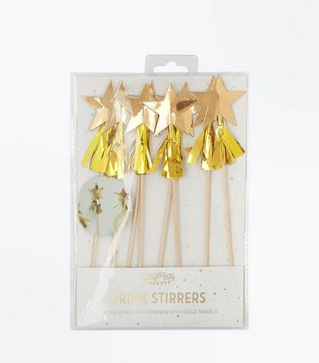 Gold Star Tassel Drink Stirrers
