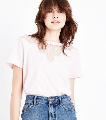 Pink Scallop Lace Yoke T-Shirt