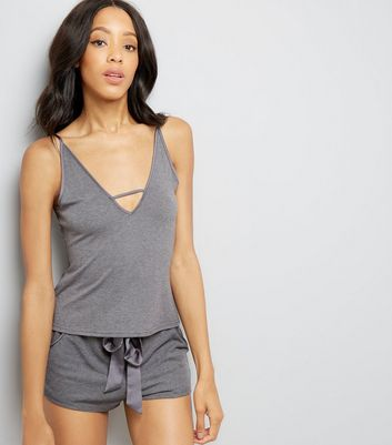 Dark Grey Lattice Front Pyjama Cami Top