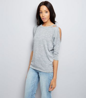 Pale Grey Fine Knit Double Cut Out Top