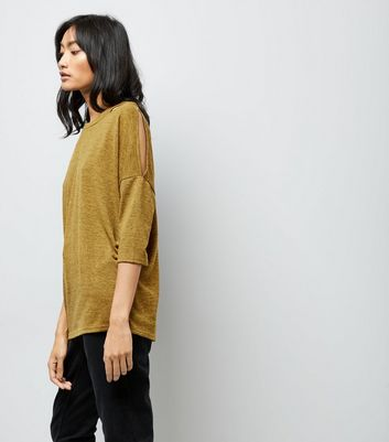 Yellow Fine Knit Double Cut Out Top