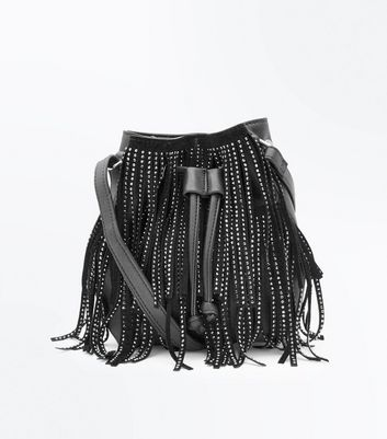Black Fringe Embellished Duffle Shoulder Bag