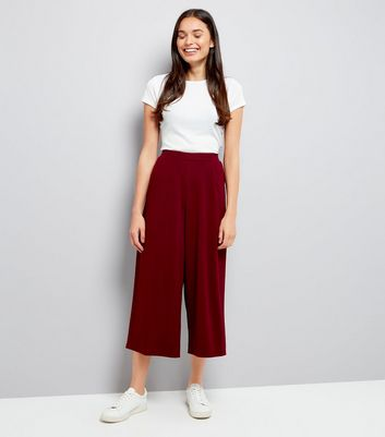 Burgundy Stretch Cropped Trousers