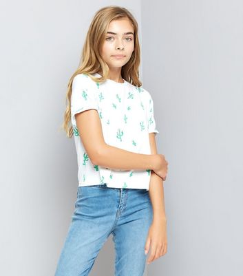 Teens White Cactus Print T-Shirt