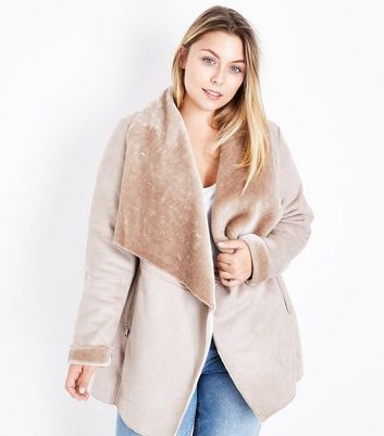 Curves Mink Suedette Faux Fur Lined Waterfall Jacket