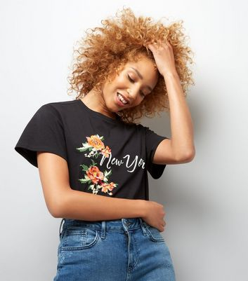 Black Floral Embroidered New York T-Shirt