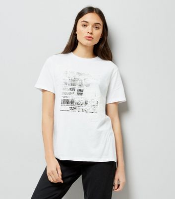 White Photographic Print Applique T-Shirt