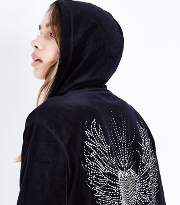 Black Velour Embellished Heart Hoodie