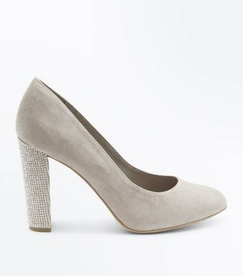 Wide Fit Grey Suedette Embellished Heel Courts