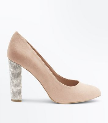 Wide Fit Nude Suedette Embellished Heel Courts