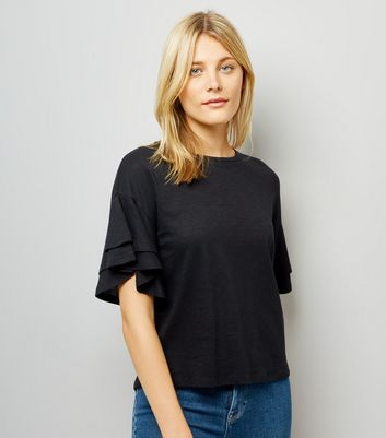 Black Double Frill Sleeve T-Shirt