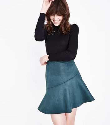 Dark Green Suedette Asymmetric Mini Skirt