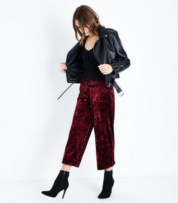 Burgundy Velvet Cropped Trousers