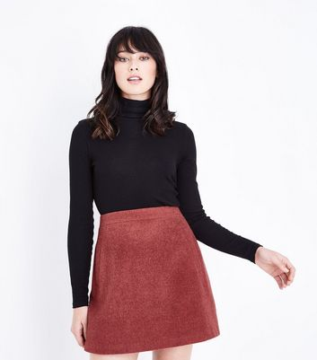 Deep Pink Brushed Mini Skirt