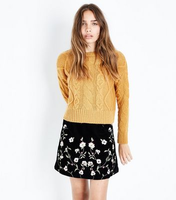Black Floral Embroidered Velvet Mini Skirt
