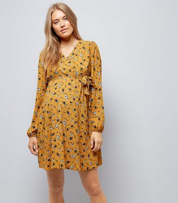 Maternity Yellow Floral Print Wrap Dress