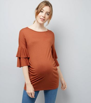 Maternity Rust Tiered Sleeve Jersey T-Shirt
