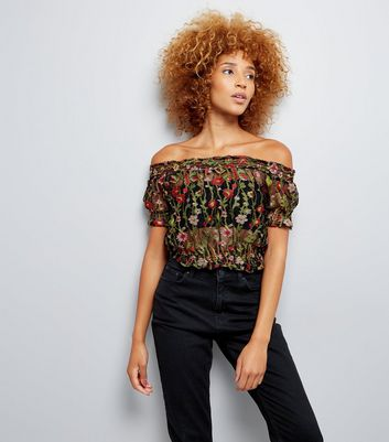 Black Floral Embroidered Mesh Shirred Bardot Neck Top