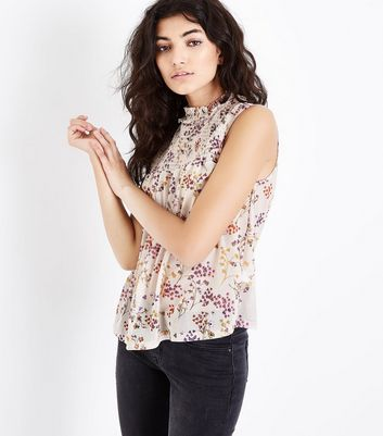 Pink Floral Print Shirred Neck Sleeveless Top