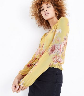 Yellow Floral Mesh Shirred Hem Top